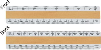 Wooden Scale Ruler with four bevels